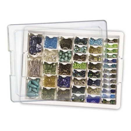 Darice Elizabeth Ward Bead Storage, 45 Pcs Assorted Bead Tray, 42 Containers of Various Sizes with a Tray and Lid for $<!---->