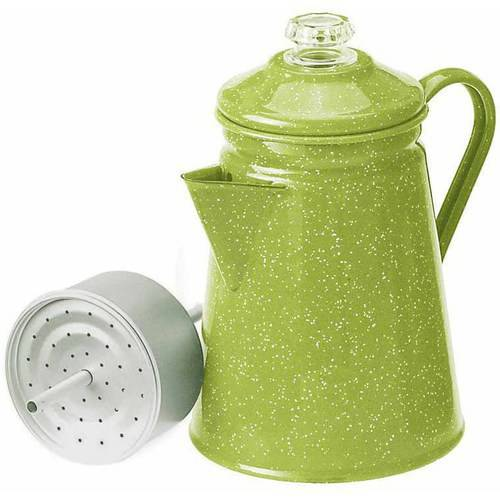 Enamelware Percolator, 8 Cup, Green