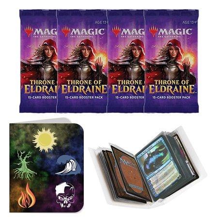 Totem World 4 Throne of Eldraine Booster Packs Magic The Gathering with a Totem Inspired Mana Lands Symbol Mini Binder Collectors Album - MTG ELD Bundle