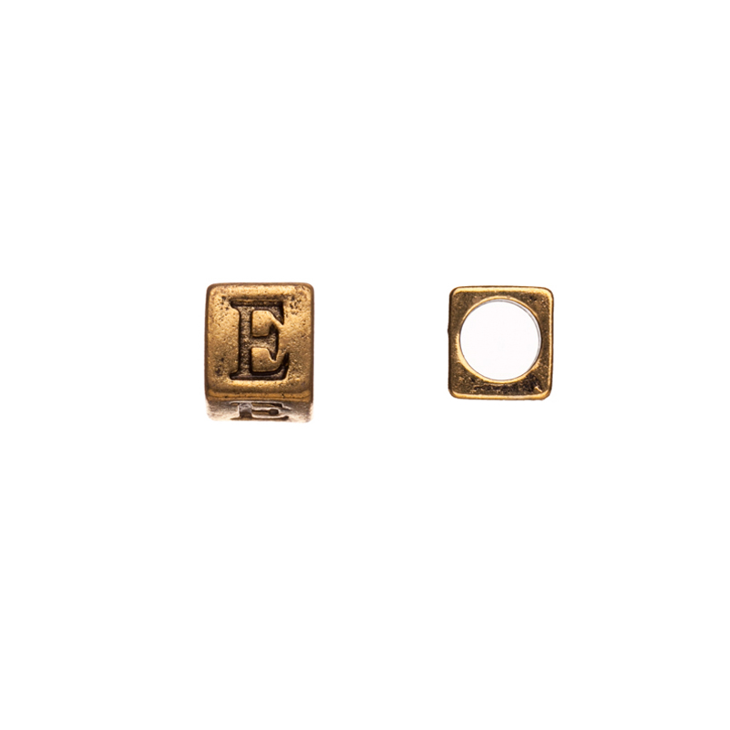 Pewter Alphabet Bead, Antique-Gold Finished, Letter E,8mm Cube Triangle, 5.5mm Hole pack of 10pcs (2-Pack Value Bundle), SAVE $1