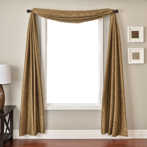 Softline Home Fashions Cerise Window Scarf in Antique Gold