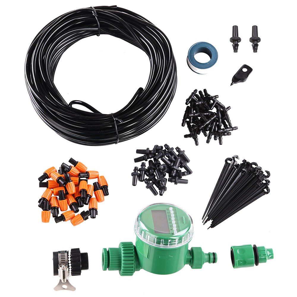 """Yescom 82 ft DIY Micro Drip Irrigation System Kit with Timer Atomizing Nozzle Automatic Watering 1/4"""" Tubing Hose"""