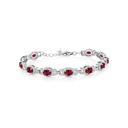 11.08 Ct Oval Red Created Ruby 925 Sterling Silver Bracelet