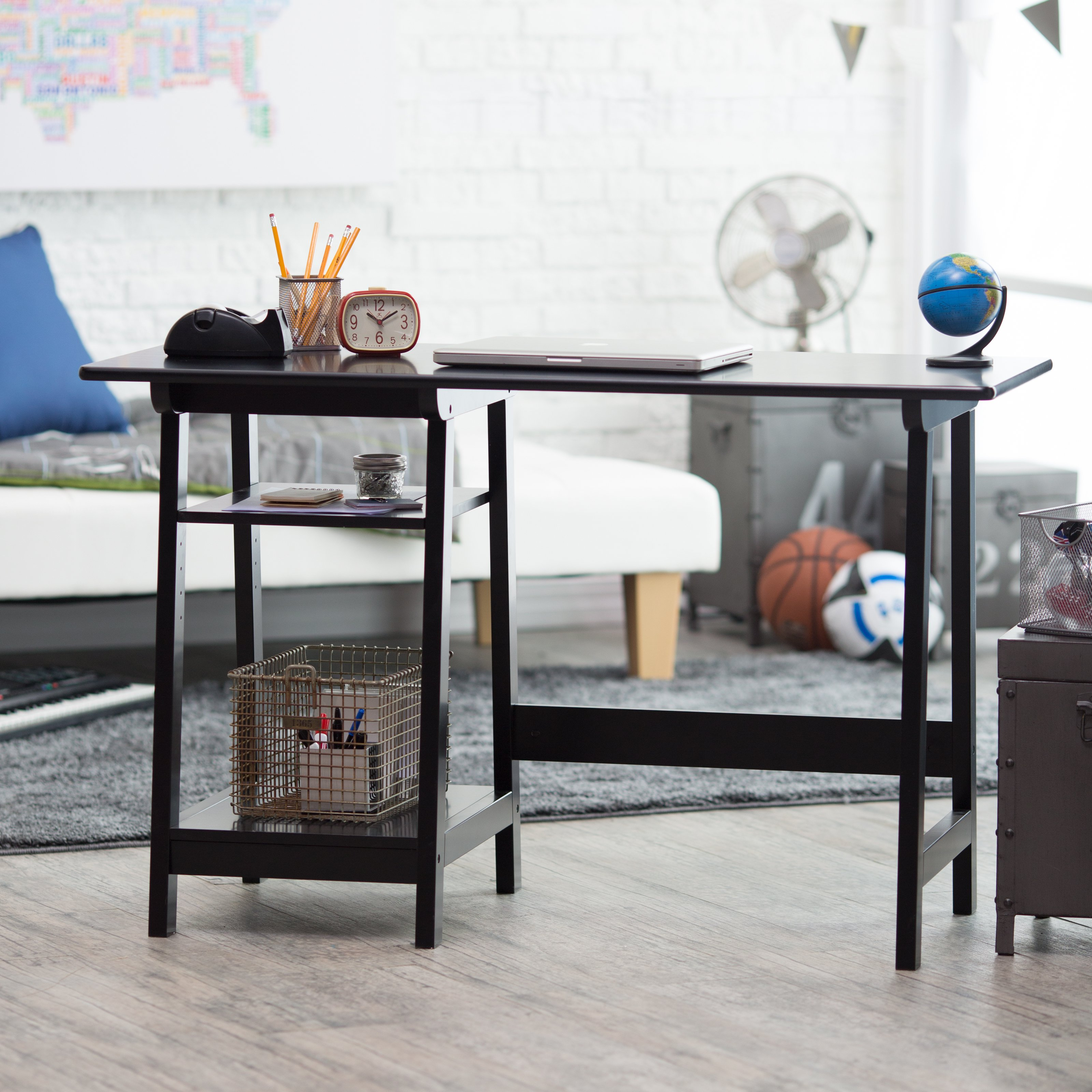 Manhattan Open Computer Desk with Adjustable Shelf - Black