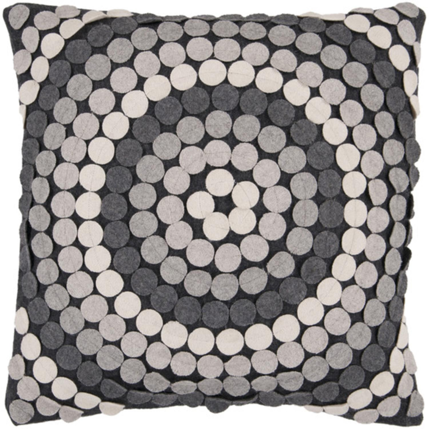 "18"" Gray Toned Applique Mandala Decorative Throw Pillow"