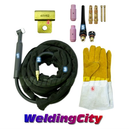WeldingCity WP-26F-25R Complete Ready-to-Go Package Flex-Head 25' 200 Amp Air-Cooled TIG Welding (Hitachi Packaged Air Conditioners Air Cooled Type)