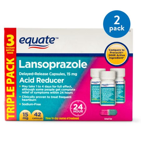 (2 Pack) Equate Acid Reducer Lansoprazole Delayed Release Capsules, 15 mg, 42 Ct, 3 Pk - Treats Frequent (Items To Put In A Time Capsule)