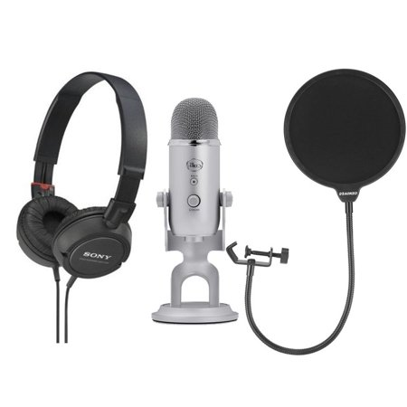 Blue Microphones Yeti Microphone Silver  With Headphones and Pop (Best Generic Pop Filters)