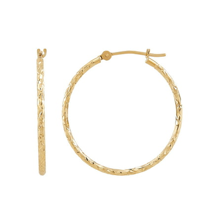 Brilliance Fine Jewelry 10K Yellow Gold Polished and Diamond-Cut Round Tube Hoop Earrings