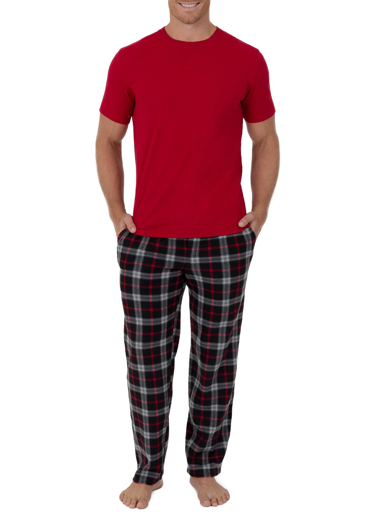 Fruit of the Loom Men/'s Fleece Sleep Pant and Knit Top Sleep Set Red or Blue