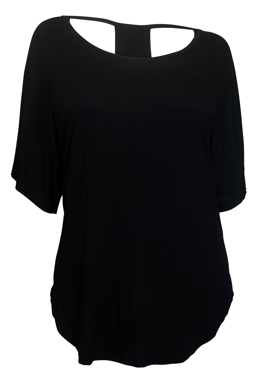 eVogues Plus size Racerback Dolman Top Black