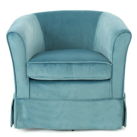 - Esclaire New Velvet Swivel Chair with Loose Cover, Blue