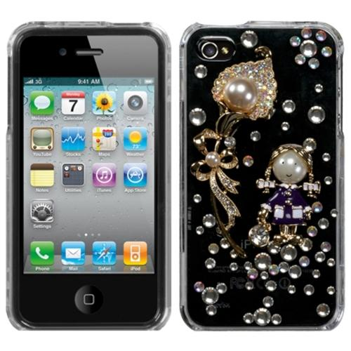 iPhone 4s case by Insten Debby Diamond/The Pearl Flower Crystal 3D Diamante Case For iPhone 4 4S