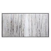 "60"" Polar White Framed Winter Snow Birch Tree Oil Painting on Canvas Wall Art"