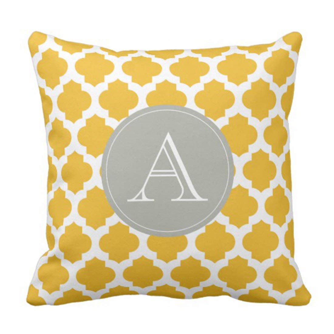 WOPOP Yellow Grey Mustard White Moroccan Pattern Gray Personalize Pillowcase Cushion Cover 16x16 inches