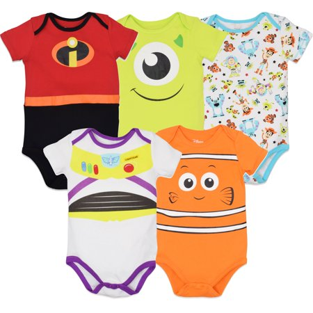 Finding Nemo Outfit (Disney Pixar Baby Boy Girl 5 Pack Bodysuits Nemo Buzz Incredibles Monsters Inc.)