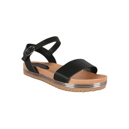 799794873a Bamboo - Women Metallic Trim Ankle Strap Flatform Sandal 18577 - Walmart.com