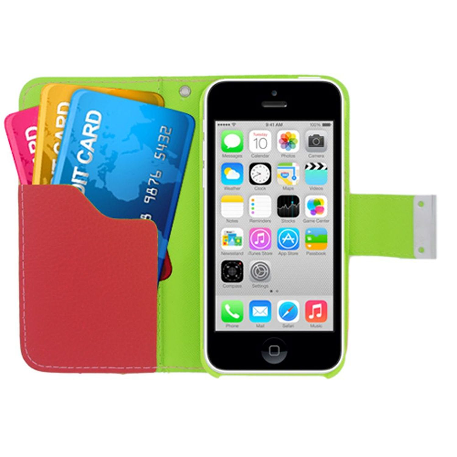 Insten Multicolor Folio Flip Leather [Card Slot] Wallet Flap Pouch Case Cover For Apple iPhone 5C, Yellow/Pink