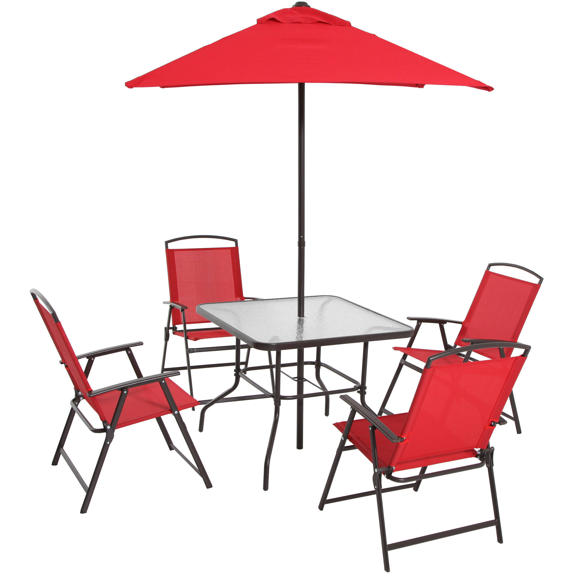 6 Piece Folding Dining Set Table Umbrella And 4 Chairs Patio Outdoor Red  Fabric