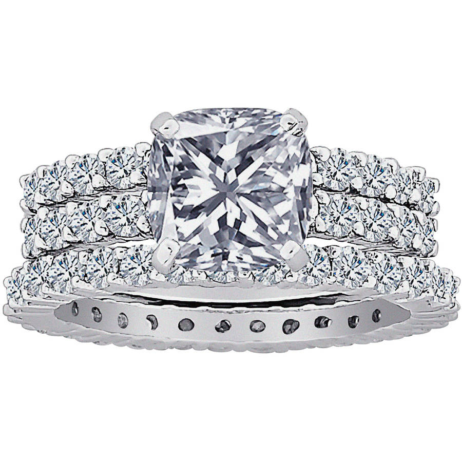 8.18 Carat T.G.W. Cushion-Cut CZ Silver-Tone Bridal Set