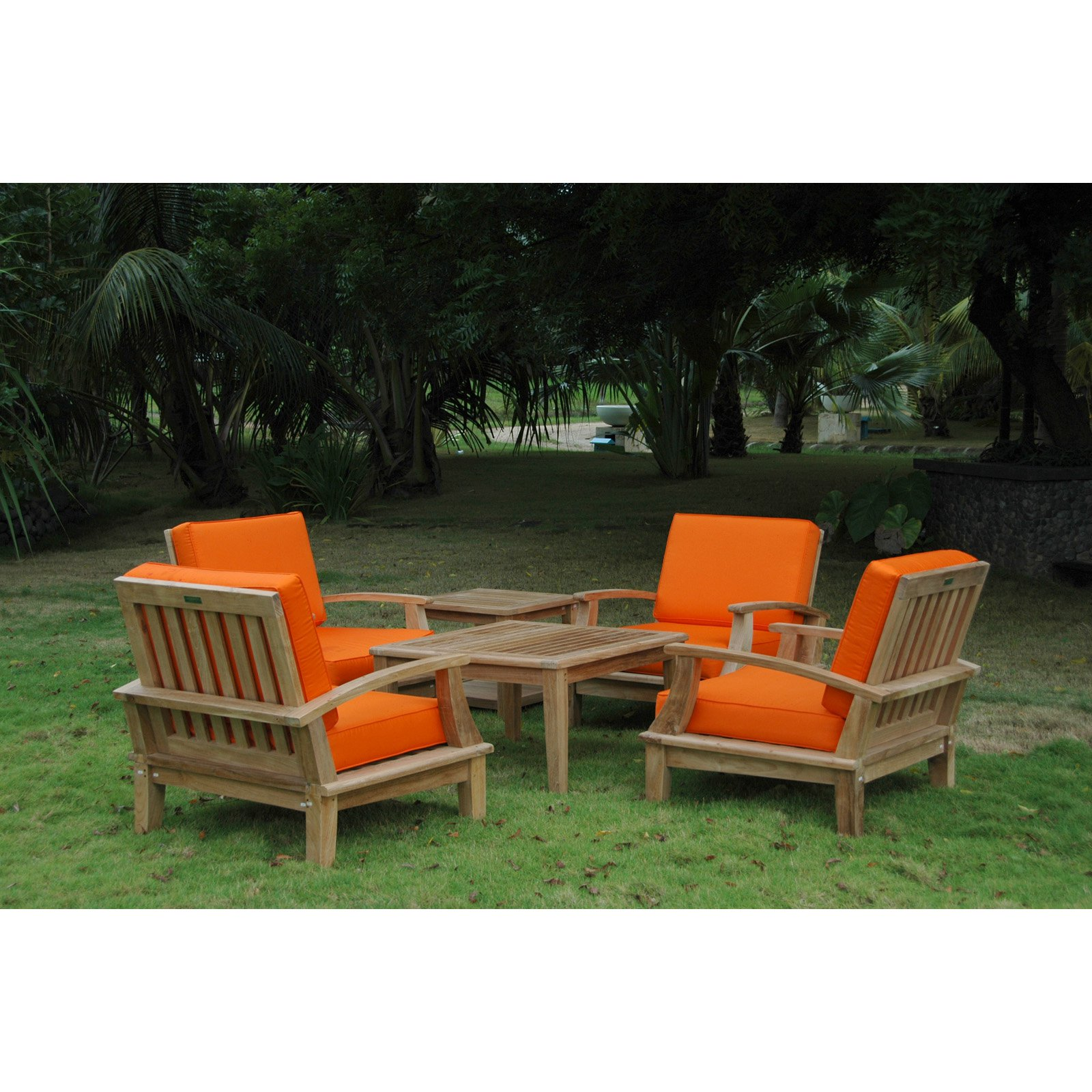 Anderson Teak Brianna Wooden 6 Piece Patio Conversation Set with Square Table