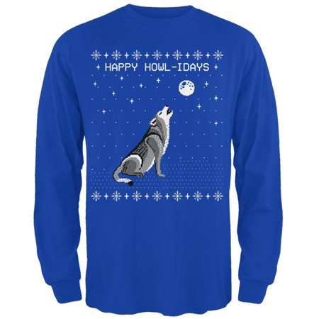 Happy Howl-idays Holidays Wolf Ugly Christmas Sweater Mens Long Sleeve T - Ugly Sweater Tee