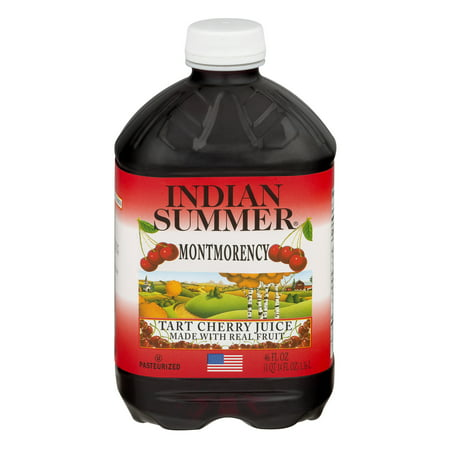 (4 pack) Indian Summer 100% Juice, Montmorency Cherry, 46 Fl Oz, 1 Count