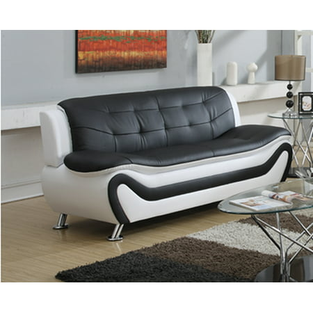 Frady Black and White Faux Leather Modern Living Room Sofa Bedroom Living Room Sofa