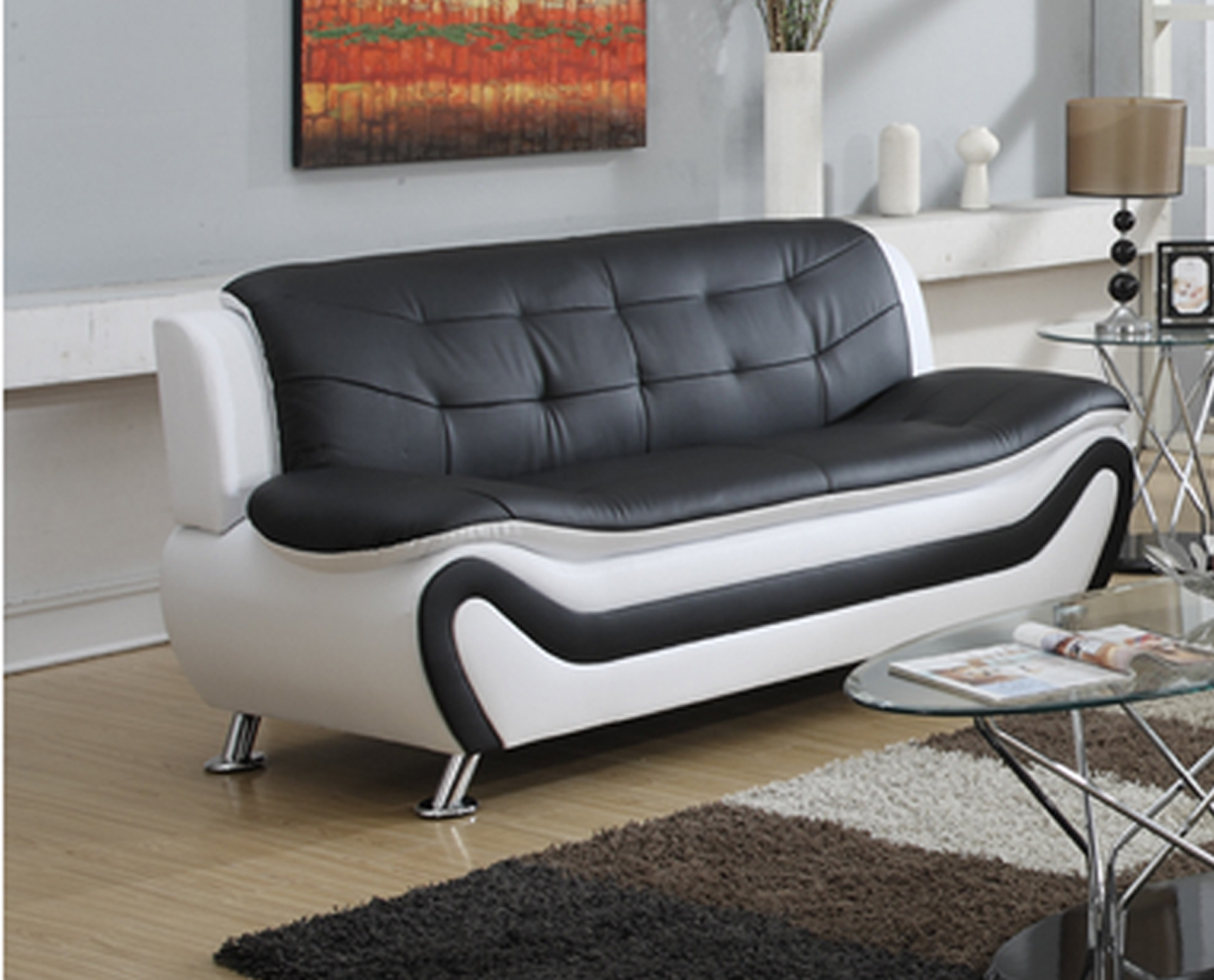 Exceptional Frady Black And White Faux Leather Modern Living Room Sofa Part 30