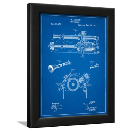 Edison Phonograph Patent Framed Print Wall Art By Cole - Edison Phonograph