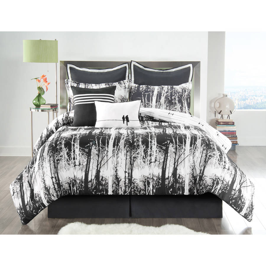 VCNY Woodland 8-Piece Black and White Nature-Inspired Reversible Bedding Comforter Set, Euro Shams Included