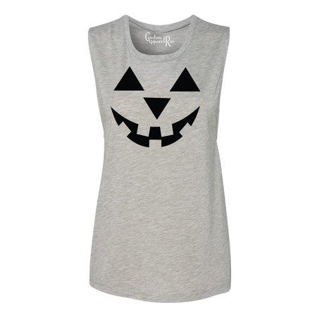 Jack O' Lantern Pumpkin Halloween Costume Womens Muscle Tank -