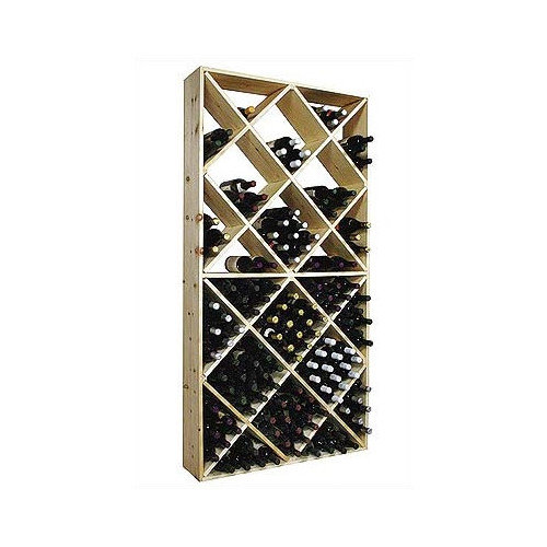 Country Pine Series 208-Bottle Solid Bin Wine Rack