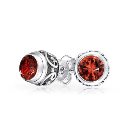 Bali Style Tiny Round Gemstone Red Garnet Stud Earrings For Women Oxidized 925 Sterling Silver January Birthstone