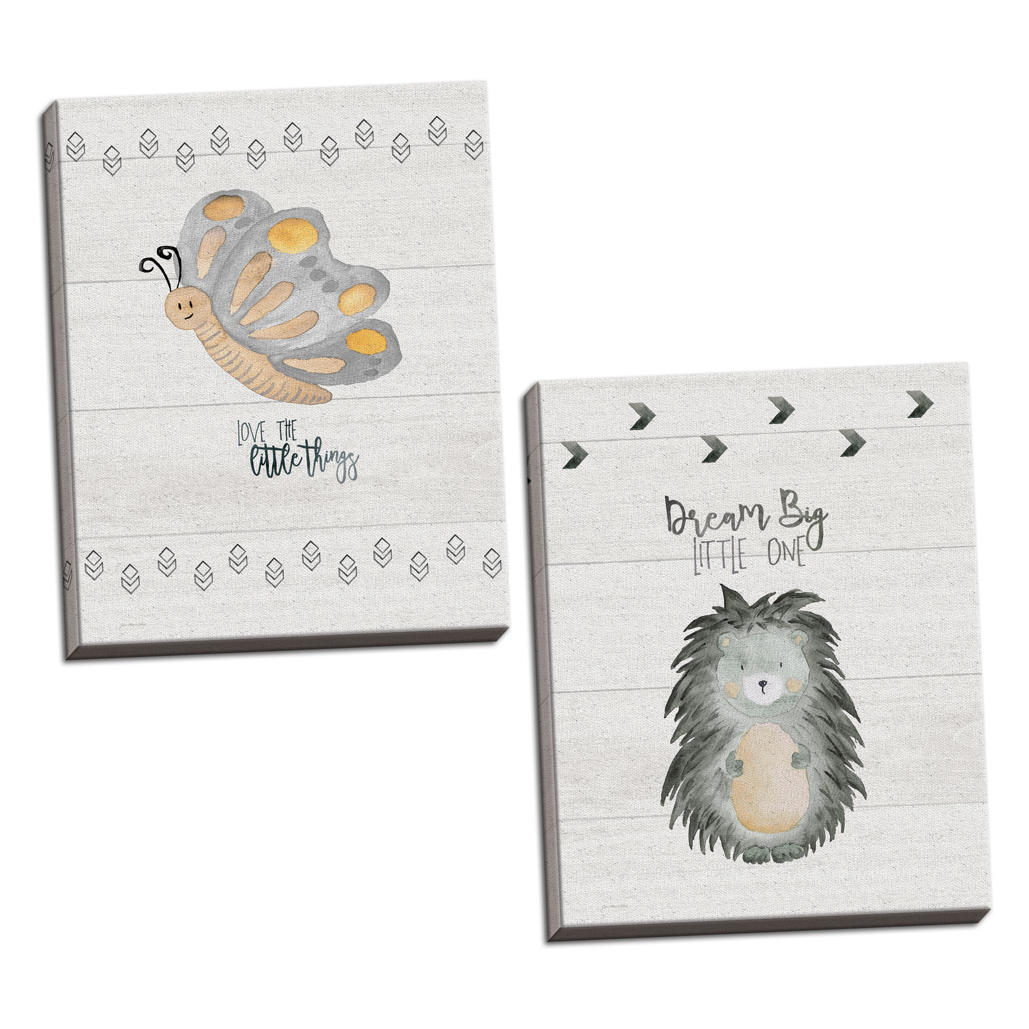 Gango Home Decor Vertical Little Things, & Dream Big by Jo Moulton (Ready to Hang); Two 11x14in Hand-Stretched Canvases