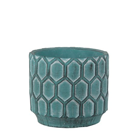Privilege 007-00011 6.5 x 6.5 x 6 in. Traditional Cement Round Pot, Antique Blue
