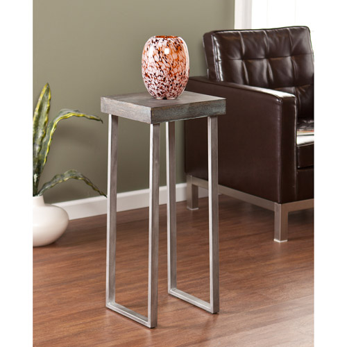 Southern Enterprises Whelan Pedestal Accent Side Table, Burnt Oak