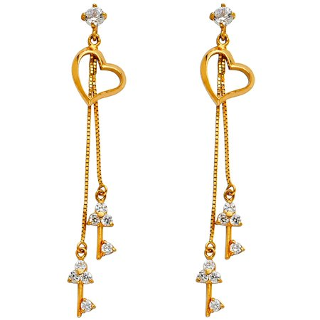 Key To My Heart Dangle Earrings Solid 14k Yellow Gold Heart CZ Keys Drop Style w/ Chain Fancy 45 mm