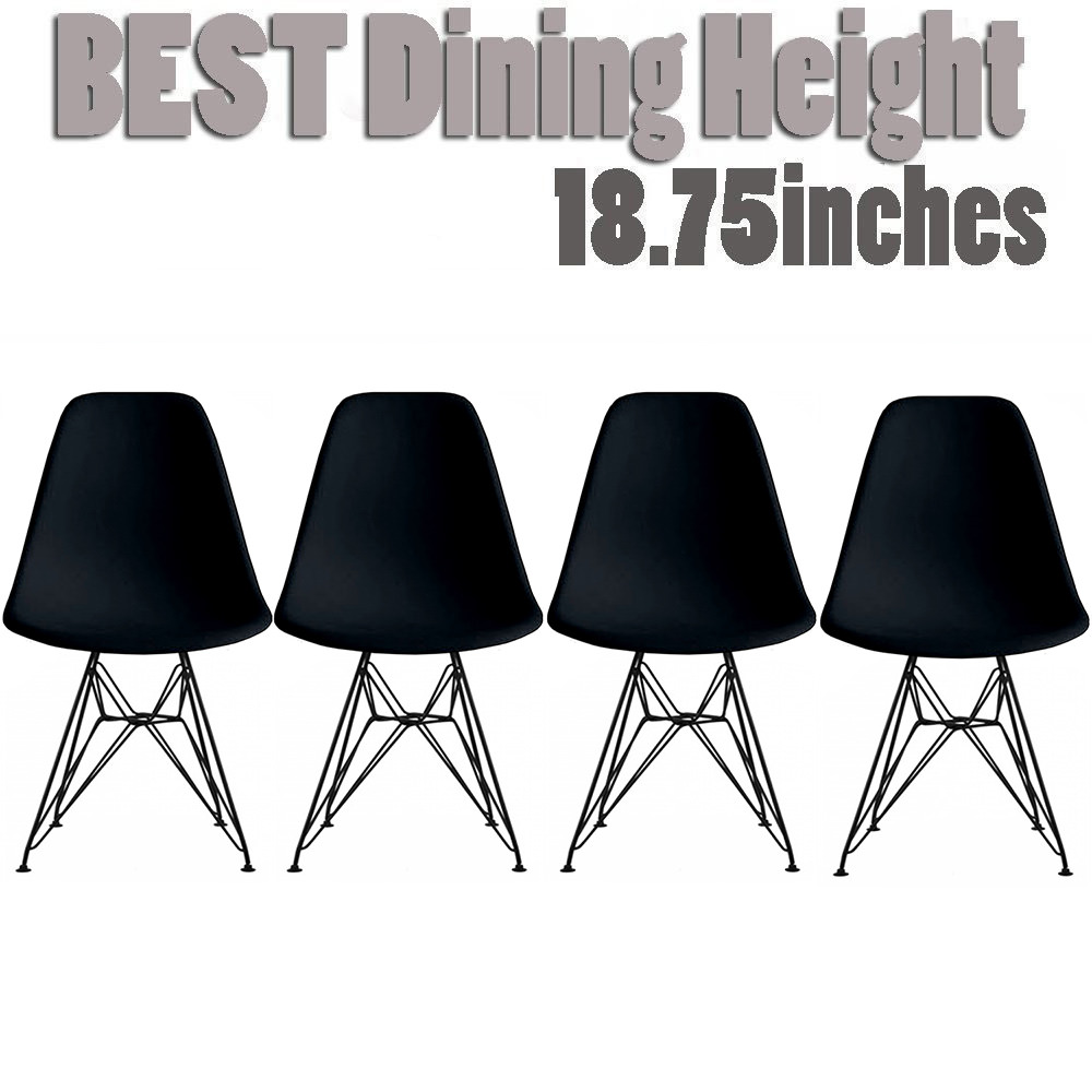 2xhome Set of 4 Black Modern Industrial Molded Shell Assembled Chairs Chrome Wire Black Metal Eiffel Side Armless No Arms With Back DSW for Desk Work Office Dining Living Kitchen Bedroom Home