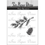 """Two Paper Divas  Clear Stamps 6""""X4.5""""-Pine Branch"""