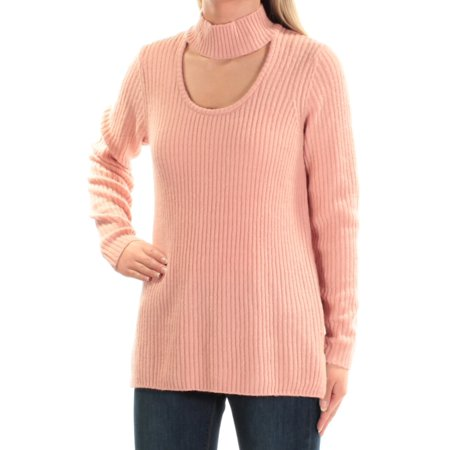 KENSIE Womens Pink Cut Out Long Sleeve Turtle Neck Sweater  Size: S
