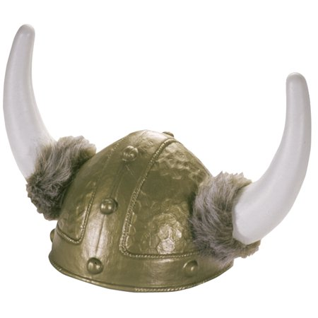 Star Power Viking King Warrior Plastic Helmet with Horns & Fur, Silver, One Size - Real Viking Helmet For Sale