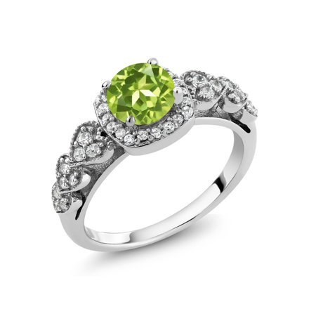 1.17 Ct Round Green Peridot 925 Sterling Silver Women's Ring Size 5 to 9