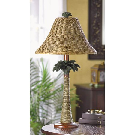 Palm Buffet Table Lamp - BSD National Supplies Modern Brown Polyresin and Rattan Base with Woven Shade Palm Table Lamp