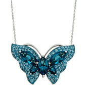 """Brilliance Fine Jewelry Sterling Silver Blue Crystal Butterfly Pendant , 18"""" Necklace"""