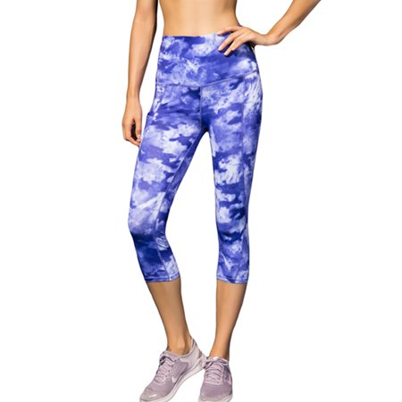 S-2XL Plus Size Women Yoga Pants Activewear Leggings Capri Performance Capris Sports Sweatpants High Waist Running Training Quick-Dry #1- Blue S