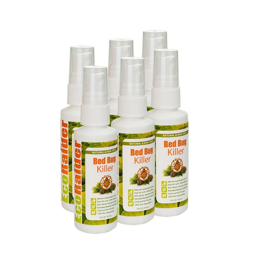Ecoraider Bed Bug Killer Spray 2 Oz x 6 Bundle, 100% Killing Effeicay with Residual Protection, Green & Non-toxic,