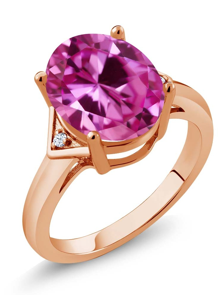 6.02 Ct Pink Created Sapphire White Created Sapphire 18K Rose Gold Plated Silver Ring by