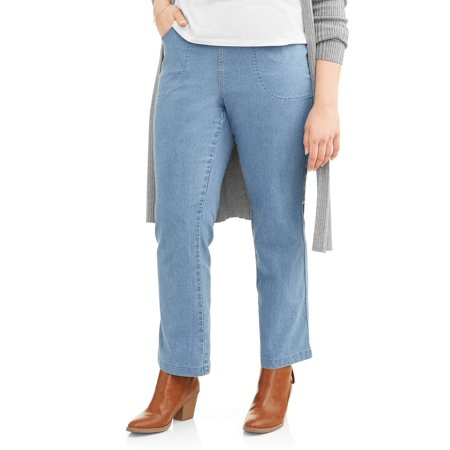 Petite Length - Women's Plus-Size 4-Pocket Stretch Bootcut Jeans, Available in Regular and Petite Lengths