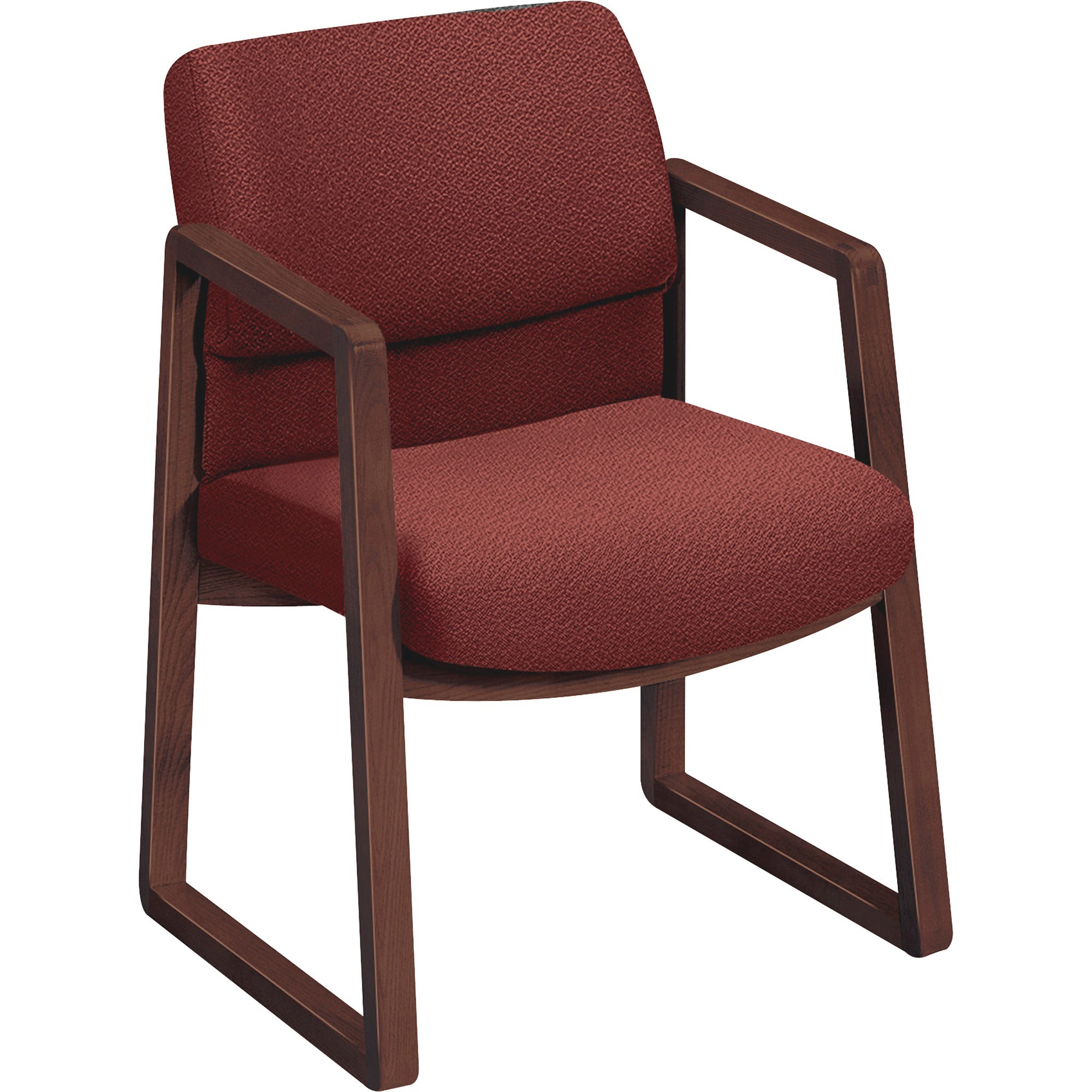 HON 2400 Series Guest Arm Chair, Mahogany Finish, Gray Fabric